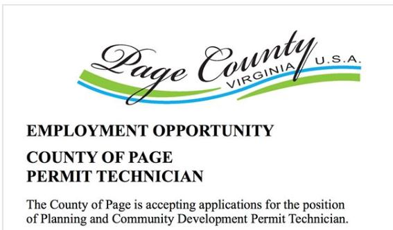 Page County Employment Opportunity