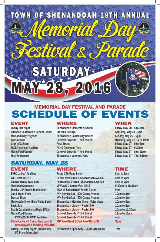 Memorial Day Festival & Parade Schedule of Events 2016